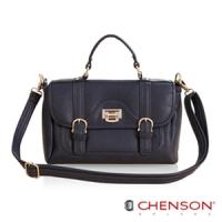 CHENSON 流金典藏.寶石光芒斜肩包(附斜背帶)/絲絨光藍(CG65815-6)