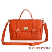 CHENSON 流金典藏.寶石光芒斜肩包(附斜背帶)/熱帶珊瑚橘(CG65815-O)