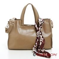 斜背包 方包 素色簡約 方領提把絲巾三用包包 CHENSON 女 褐(CG76776-1)