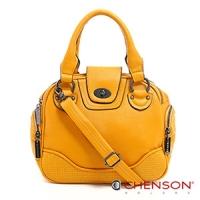 斜背包 素色簡約 糖果色系三用斜背包包 女 CHENSON 黃(CG65980-L)