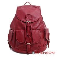 後背包 素色多口袋 學院束口後背包包 女 CHENSON 紅(CG66645-M)