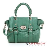 斜背包 復古百搭 重溫經典三用郵差包包 女 CHENSON 綠(CG76772-G)