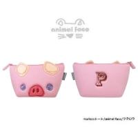 日本sunlemon☆動物FACE化妝包-粉紅豬