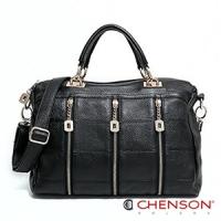 真皮 斜背包 品味質感 職場女王三用包包 女 CHENSON 黑(LAL47238-3)
