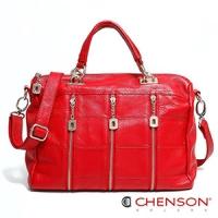 真皮 斜背包 品味質感 職場女王三用包包 女 CHENSON 紅(LAL47238-R)