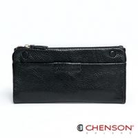 真皮 錢包 可放手機 獨立拉鍊零錢袋兩折長夾 CHENSON 黑(W08120-3)