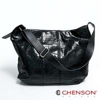 真皮斜背包 素面百搭 A4 鱷魚紋大容量托特包包 女 CHENSON 黑(LAL41013-3)