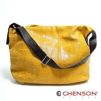 真皮斜背包 素面百搭 A4 鱷魚紋大容量托特包包 女 CHENSON 黃(LAL41013-L)
