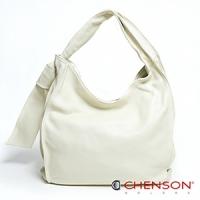 真皮肩背包 素面百搭 A4 風琴摺手提包包 女 CHENSON 白(LAL41024-E)