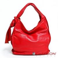 真皮肩背包 素面百搭 A4 風琴摺手提包包 女 CHENSON 紅(LAL41024-R)