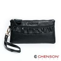 真皮錢包 可裝千元鈔  荷葉邊兩用手提長夾 女 CHENSON 黑(W00920-3)