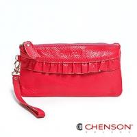 真皮錢包 可裝千元鈔  荷葉邊兩用手提長夾 女 CHENSON 玫紅(W00920-F)