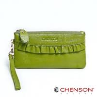 真皮錢包 可裝千元鈔  荷葉邊兩用手提長夾 女 CHENSON 綠(W00920-G)