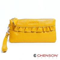 真皮錢包 可裝千元鈔  荷葉邊兩用手提長夾 女 CHENSON 黃(W00920-L)
