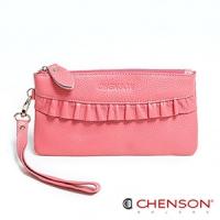 真皮錢包 可裝千元鈔  荷葉邊兩用手提長夾 女 CHENSON 粉(W00920-P)