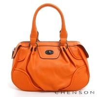 手提包 素色簡約 糖果色系肩背包包 女 CHENSON 橘(CG65977-O)