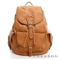 後背包 素色多口袋 學院束口後背包包 女 CHENSON 駝(CG66645-N)