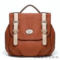 後背包 簡約百搭 英式學院後背包包 女 CHENSON 棕(CG66670-B)