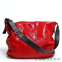 真皮斜背包 素面百搭 A4 鱷魚紋大容量托特包包 女 CHENSON 紅(LAL41013-R)