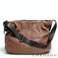 真皮斜背包 素面百搭 A4 鱷魚紋大容量托特包包 女 CHENSON 駝(LAL41013-T)