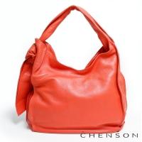 真皮肩背包 素面百搭 A4 風琴摺手提包包 女 CHENSON 粉(LAL41024-P)