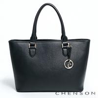 手提包 A4大容量 素面肩背托特包包 女 CHENSON 黑(GRS141710-3)