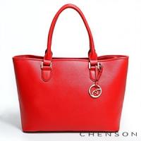 手提包 A4大容量 素面肩背托特包包 女 CHENSON 紅(GRS141710-R)