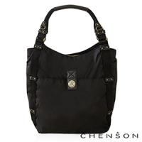 肩背包 A4大容量 防潑水情侶超輕托特包 男女 CHENSON 黑(CG56513-3)