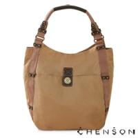 肩背包 A4大容量 防潑水情侶超輕托特包 男女 CHENSON 卡其(CG56513-N)