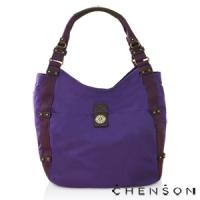 肩背包 A4大容量 防潑水情侶超輕托特包 男女 CHENSON 紫(CG56513-V)