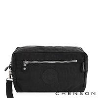 化妝包 經典款 防潑水超輕手拿收納包包 男女 CHENSON 黑 (CG70136-3)