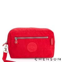化妝包 經典款 防潑水超輕手拿收納包包 男女 CHENSON 紅 (CG70136-M)
