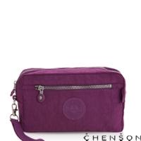 化妝包 經典款 防潑水超輕手拿收納包包 男女 CHENSON 紫 (CG70136-U)