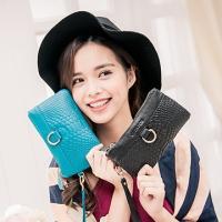 CHENSON 小牛皮格紋手機錢包 藍(W00919-5)