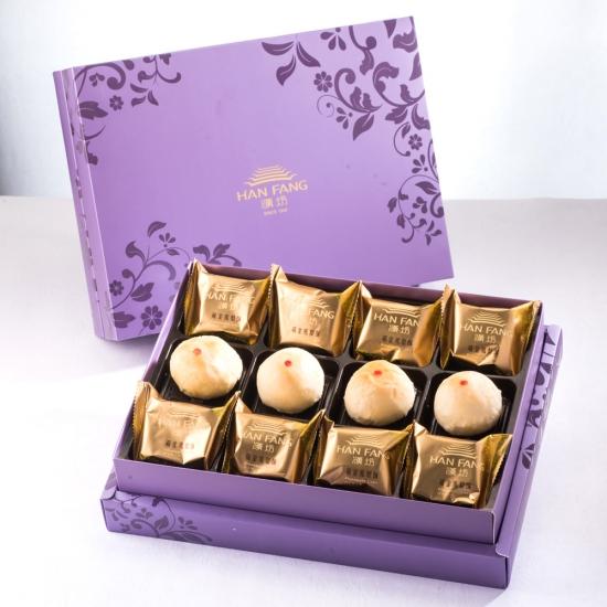 【臻饌】綜合12入禮盒★鳳梨酥*8+綠豆小月餅*4(蛋奶素)紫