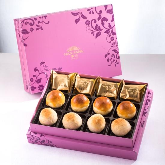 【臻饌】綜合12入禮盒★鳳梨酥*4+蛋黃酥*4+漢坊金沙小月*4(蛋奶素)紅