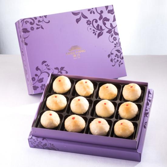 【臻饌】綠豆小月餅12入禮盒(蛋奶素)紫