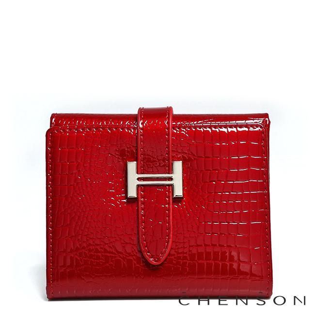 真皮錢包 可裝千元鈔 三折亮面鱷魚紋皮夾 女 CHENSON 紅(W00180-R)