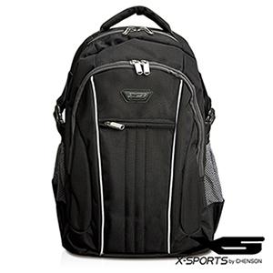 後背包 可放13吋筆電 垂直線條拼色後背包包 X-SPORTS 黑(CG20508-3)